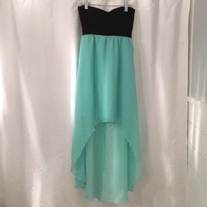 Turquoise black high Low sheer mini dress